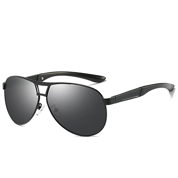 d85807faf4 LUOMON Polarized Aviator Sunglasses for Men Black Frame Grey Lens Polarized  Classic Glasses LM069
