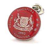 Singapore Coin Tie Tack Lapel Pin Suit Flag Asia Singapura Barang kemas bendera Hand Painted