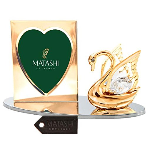 24k Gold Plated Picture Frame Desk Set with Crystal Decorated Swan Figurine on a Silver Base by -
