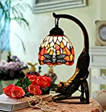 Makenier Vintage Tiffany Style Stained Glass Red Dragonfly Table Lamp with Cat Base - 6 Inches Lampshade