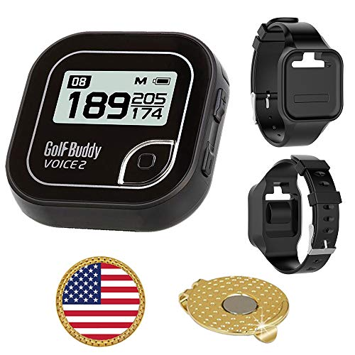 GolfBuddy Voice 2 Golf GPS Rangefinder Bundle with Wrist Band, Ball Marker and Magnetic Hat Clip USA Flag