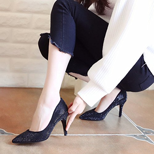 Femme À ZHUDJ Chaussures À Chaussures Cirage Chaussure Forage Talon Haut Talon De black Faible Talon Printemps Unique De Banquet Faible Mince Profondeur L'Eau rrfHxP