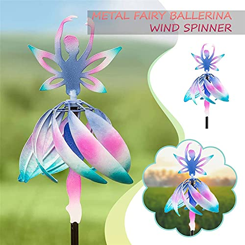 bestheart Ballet Girl Garden Pinwheels Whirligigs Wind Spinner Kids Toys Windmill Decor Stakes Durable Garden Ornaments Outdoor Decorations for Patio Lawn Yard