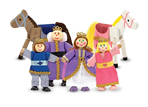 Melissa & Doug Royal Family Wooden Poseable Doll Set for Castle and Dollhouse (6 pcs) - 4 Dolls, 2 Horses (3-4 inches each) (Pcs Mounts Premier)