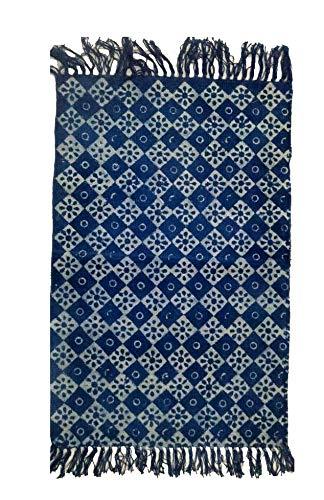 iinfinize- Indian Cotton Kilim Unique Floral Design Indigo Blue Tie Dye Kilim Carpet Hand Block Print Rag Rug Dhurrie Fringes Lace Floor Runner Area Rug Interior Carpets (IIN-CRU-80) (Cotton Rugs Dhurrie Area)