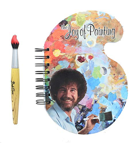 Surreal Entertainment Bob Ross Paint Palette Journal and Brush Pen - Licensed Collectible 80s Art Notepad - Novelty Book - Unique Gift for Birthdays, Holidays, House Warming Parties