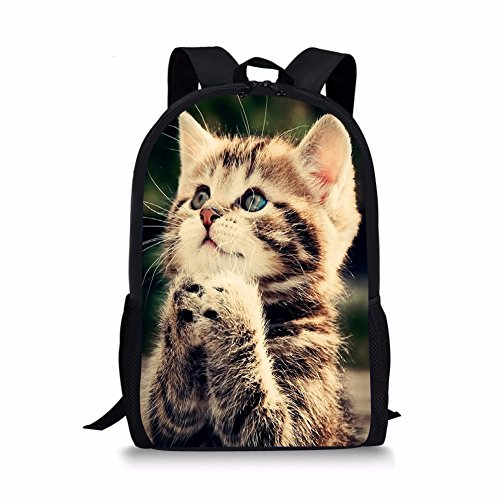 Coloranimal Cute Cat Prints Book Schoolbag for Children Casual Backpacks
