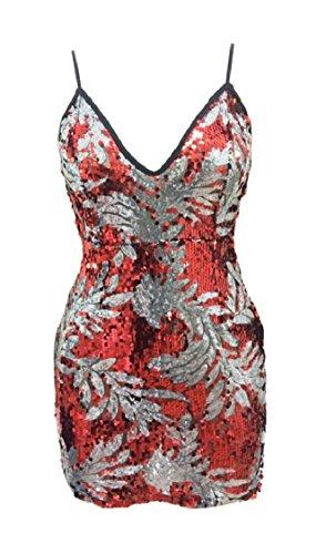 Impression Sequin Des Femmes Maweisong V Cou Backless Partie Robe Moulante 4