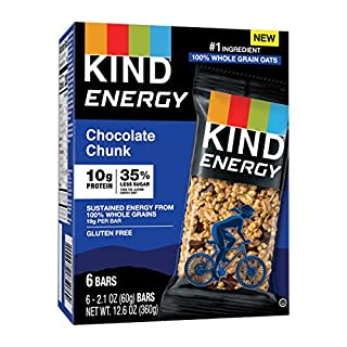 KIND Energy Bar, Chocolate Chunk, Gluten Free, Low Sugar, 1.76 Ounces, 30 Count