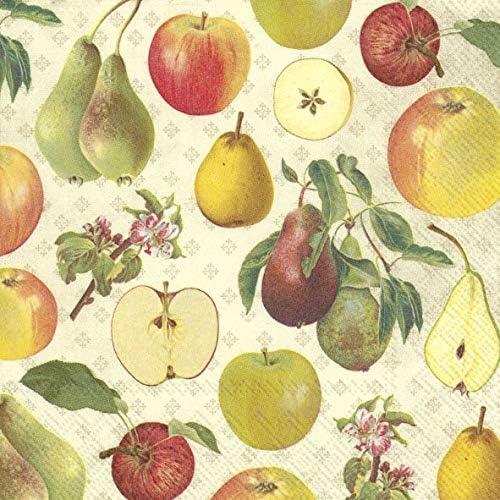 Ihr Lot de 20 Serviettes de Table en Papier Motif Pomme et Poire Cr/ème 33 cm