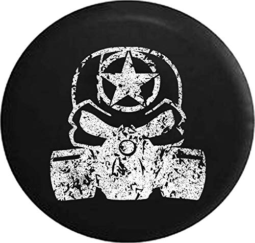 - Jeep Tire Cover for Spare Tire Distress Punisher Skull Gas Mask Oscar Mike Zombie Military Black 35 Inch
