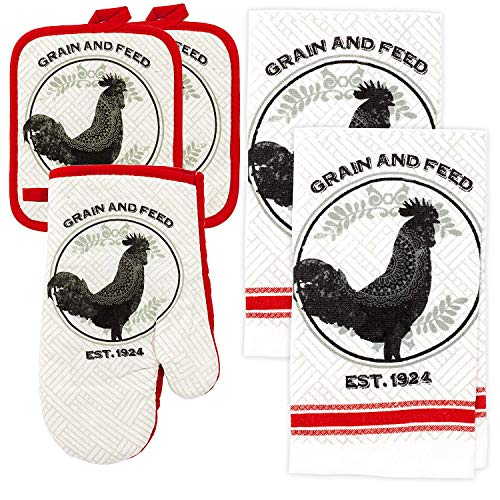 Rooster Kitchen Decor Linen Set Includes 2-Towels 2-Pot Holders 1-Oven Mitt | Grain and Feed Rooster Theme Kitchen Towel Set For Cooking, Baking, Housewarming & Kitchen Decoration (Set of 5 - Oven Pot Holder Mitt 1