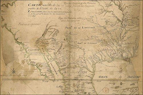 24x36 Poster . Map Of W French Louisiana 1721 Pre Louisiana Purchase - Louisiana Antique Map