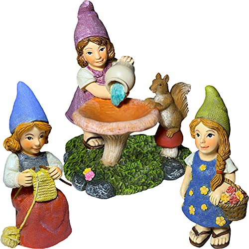 Miniature Garden Gnomes - Lady Gnomes Kit of 3 pcs - Figurines and Accessories Set