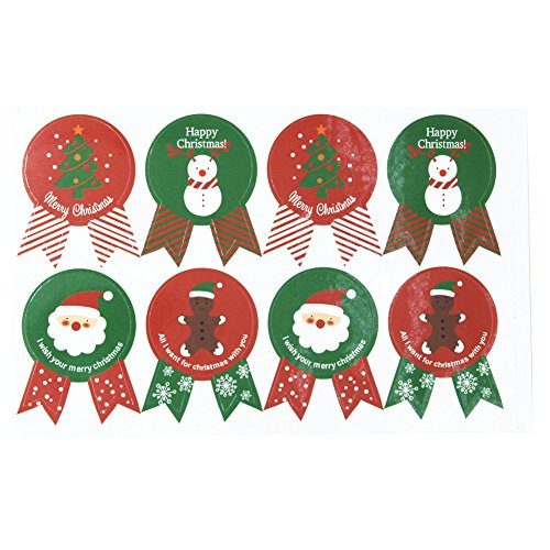 Santa Claus Stickers 15 Sheets with Snowman, Tree and Bear Happy Faces Holiday Christmas Gift Tag Stickers - 120