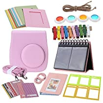 Andoer® 7 in 1 Instant Film Camera Accessories Bundles for Fujifilm Instax Mini8 (Case/Photo Album/Close-Up Selfie Lens/Colors Lens/Wall Hang Frames/Photos Frame/Stickers)