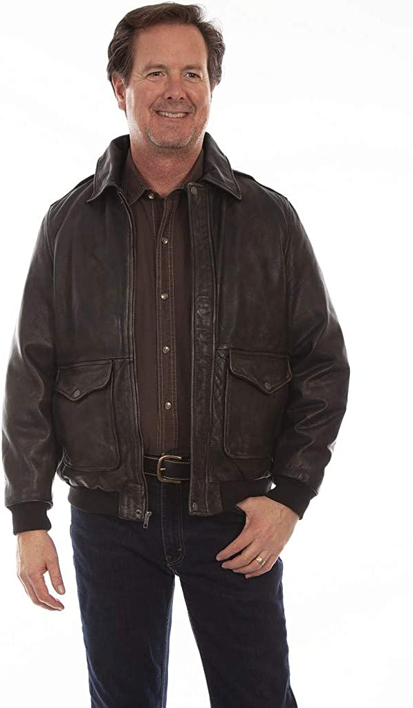 Men's Vintage Jackets & Coats Scully Western Jacket Mens Rugged Leather Bomber Zip Brown F0_1043 $239.48 AT vintagedancer.com