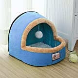 (S)Pet Dog Cat Bed Puppy Cushion House Warm Soft Basket Toy Ball Kennel Mat Blanket (blue)