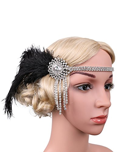 Flapper Girl 1920s Flapper Headband Gatsby Style 20s Headpiece Accessories Costume (Black&Silver)