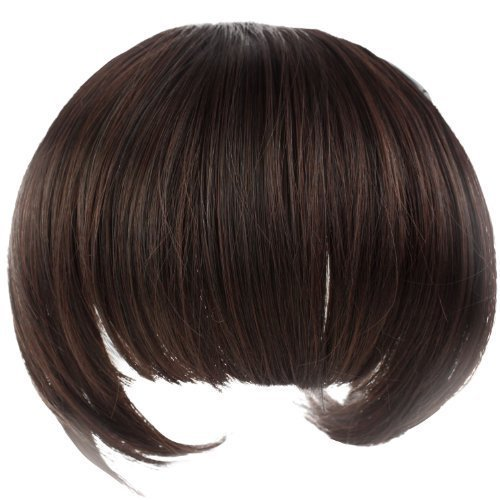 ReNext Girl's Lovely Fiber Synthetic Clip on Clip in Front Hair Bangs Fringe Extension (Dark Brown) ()