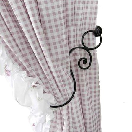 Charming Elegant Black Metal Wall Mounted Window Treatment Curtain Tieback Drapery Holdback - 1 Pair (2 pieces)