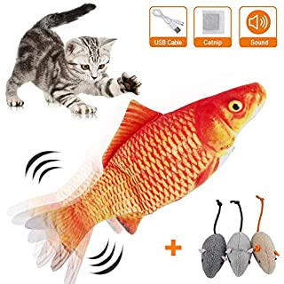 HZONE Electric Flopping Fish Cat Toy, Realistic Plush Interactive Electric Moving Fish Cat Kicker Toys, Wiggle Fish Catnip Toys Motion Kitten Toy, Cat Chew Bite Kick Toy for Cat Kitten Kitty Exercise