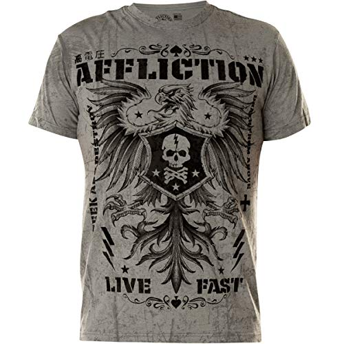Affliction Men's Warmachine Silver Grey Reactive Short Sleeve Tee ()