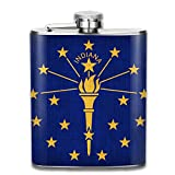 Indiana State Flag Top Shelf Flasks Stainless Steel Hip Flask, 7 Oz, Special Design Bridesmaid Flask