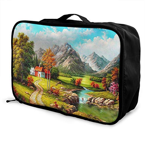 Skrencai Packing Cubes Travel Luggage Bag Receive Storage Organizer Large Portable Set with Handle Mountain House River