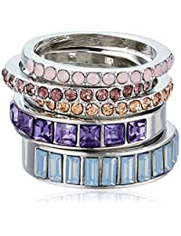 GUESS Women's Stacker Ring Set Of 5, Silver, 7