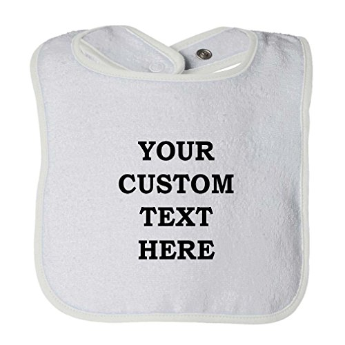 Personalized Custom Text Cotton Unisex Baby Terry Bib Contrast Trim - White, One Size ()