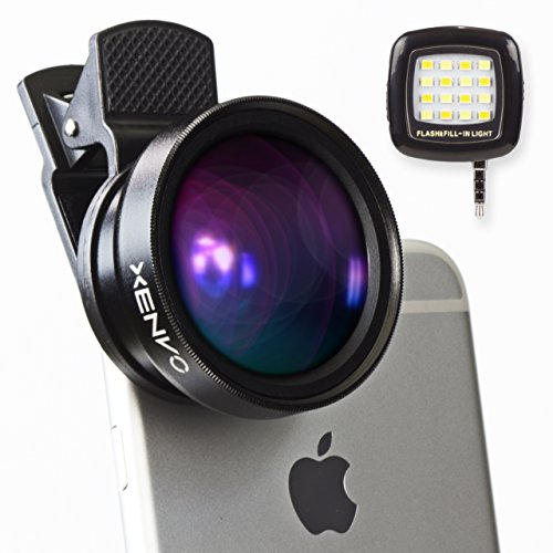 XENVO Premium Camera Lens Kit with LED Light and Portable Case: 2-in-1 Wide Angle Lens and Macro Lens for iPhone