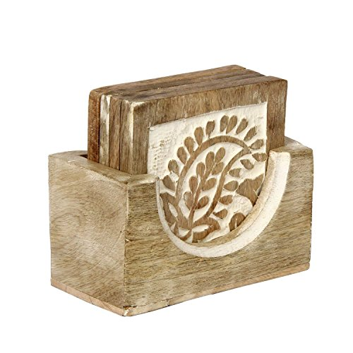 Aheli Shabby Chic Decor Set of 4 Square Wooden Coasters for Drinks (3.5 inch) Tea Coffee Beer Coaster with Holder Kitchen Bar Dining Accessories ()