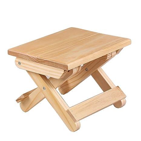 Amazon.com: Pequeño taburete plegable de pino para uso ...