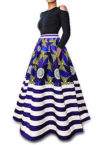 dbd0f4413b2368 VLUNT Women s African Floral Print A Line Long Skirt Pockets Two Pieces  Maxi Dress