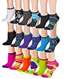 Tipi Toe Women's 18-Pairs Colorful Patterned No Show Socks