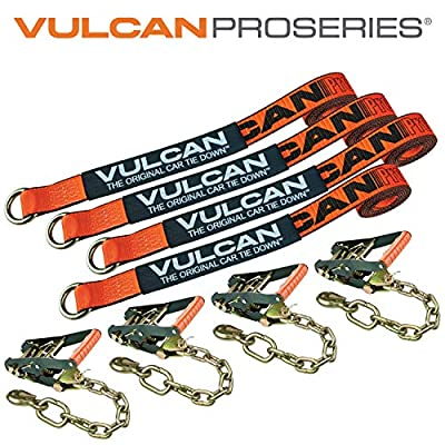 VULCAN Lasso Auto Tie Down with Chain Anchors - 2 Inch x 96 Inch, 4 Pack - PROSeries - 3,300 Pound Safe Working Load: Automotive