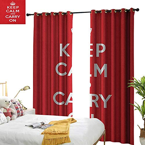WinfreyDecor Insulated Sunshade Curtain Keep Calm Red and White Composition with Keep Calm and Carry On Text and a Royal UK Crown Darkening and Thermal Insulating W120 x L96 Red White ()