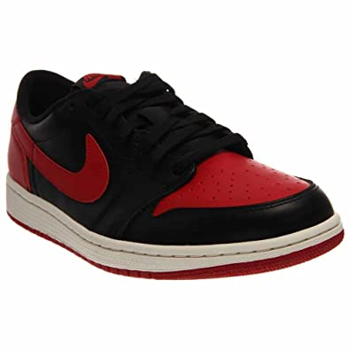 3fd9395bc33b Jordan Nike Mens Air 1 Retro Low OG Bred 1 quot  Black Varsity Red-