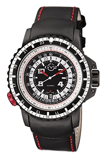 GV2 by Gevril Contasecondi Mens Swiss Automatic Black Leather Strap Watch, (Model: 3501)