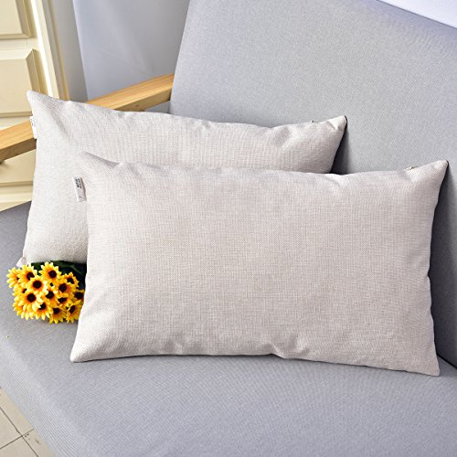 Natus Weaver Decorative Faux Linen Oblong Throw Pillow Cases Cushion Covers Textured for Sofa , 12