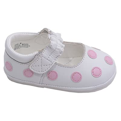 Angel Baby Girls White Polka Dot Mary Jane Shoes 1 -3 Baby