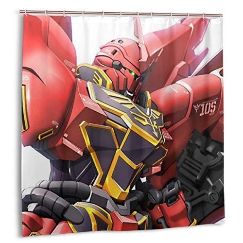 PHOEBE DOHERTY Gundam 0093-Sinanju'MSN-06S' Anime Decor Shower Curtain 72x72 in with 12 Pack Plastic Hooks for Bathroom