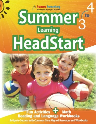 Summer Learning HeadStart, Grade 3 to 4: Fun Activities Plus Math, Reading, and Language Workbooks: Bridge to Success with Common Core Aligned Resources and Workbooks cover