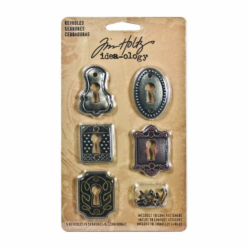 Metal Keyholes with Long Fasteners by Tim Holtz Idea-ology, 5 Keyholes, 10 Long Fasteners, Various Sizes, Antique Finishes, TH92718