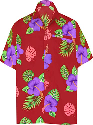 LA LEELA Men's Casual Button Down Short Sleeve Shirt for Men Red_W341 - Silk Dresses Hawaiian