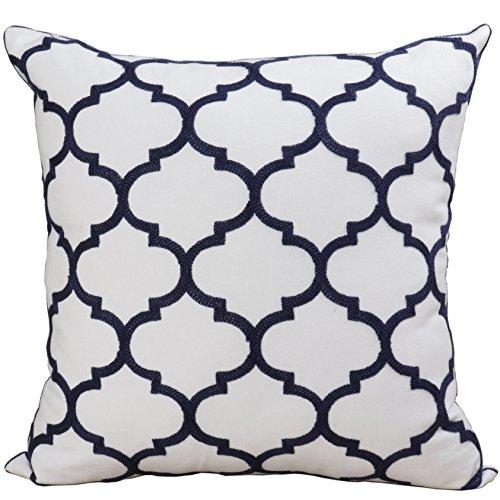Bridgeso Minimalist Throw Pillow Cover Pillowcase Cotton Linen Blend Trellis Chain Quatrefoil Pattern embroidered Cushion Shell, 1 Piece, 18
