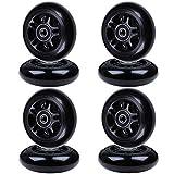 AOWISH 8-Pack 70mm Inline Skate Wheels 85A Rollerblade Replacement Wheel with Bearings ABEC-9 (Black Hub Black Wheel)