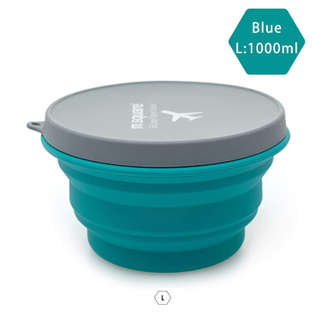 M square Collapsible Food Grade Silicone Bowls with Lids, BPA-Free, Camping, Traveling, Pets, Hiking, Backpacking Bowl (34.16oz Blue)