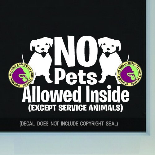 Vinyl Pet (The Gorilla Farm NO PETS ALLOWED INSIDE Retail Shop Store Front Door Window Sign Vinyl Decal Sticker WHITE)